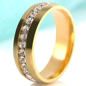 Other - Unisex Channel Set Crystal Wedding Band Ring Steel